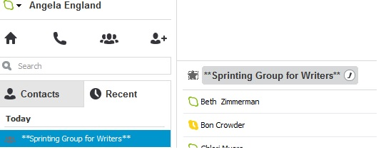 Managing a Writer's Sprint Group - skype group add to contacts and favorites
