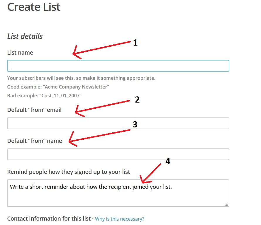 Mailchimp list creation screen unpacked.